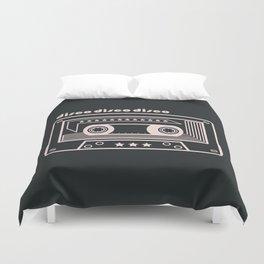 Black and White Disco Music Cassette Duvet Cover