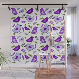 Purple birds-Waiting for Spring Wall Mural