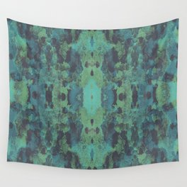 Sycamore Kaleidoscope - Graphite blue green Wall Tapestry