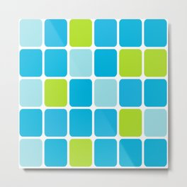 blue and green squares  Metal Print