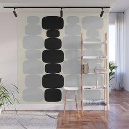 Abstraction_Balance_ROCKS_BLACK_WHITE_Minimalism_001 Wall Mural
