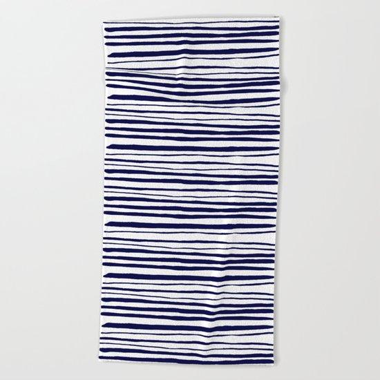 Blue- White- Stripe - Stripes - Marine - Maritime - Navy - Sea - Beach - Summer - Sailor 3 Beach Towel