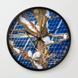 Four Seasons Photosynthesis - Winter. Oak Tree, Snow, And A Solar Power Panel Wall Clock