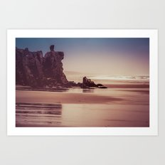 Ocean Beach - Oregon Sea at Dusk with Rocks Art Print