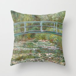 Monet, Water Lilies and Japanese Bridge, 1854 Throw Pillow