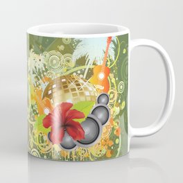 Golden disco ball and red hibiscus Coffee Mug