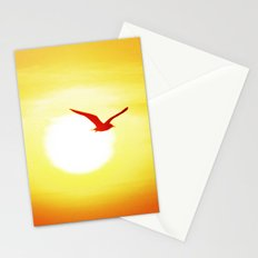 Seagull on sunset background Stationery Cards