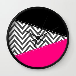 Zigzag Pattern, Chevron Pattern - Gray Pink Black Wall Clock