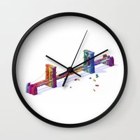 brooklyn bridge Wall Clocks featuring Brooklyn Bridge by JR Schmidt