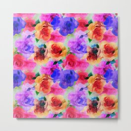 Colorful abstract modern roses flowers pattern Metal Print