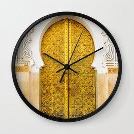 Golden Archway - Ornate Temple Style Door In Fes Morocco - Moroccan Travel Wanderlust Decor - Gold White Cream Peach Neutral Intricate Boho Bohemian Architecture Yoga Studio Decor Wall Clock