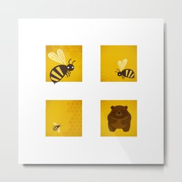 Bees and Bear by Friztin Metal Print