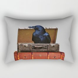 Raven in suitcase Collage #society6 Rectangular Pillow