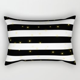 Black and White Stripes with Golden Dots Rectangular Pillow