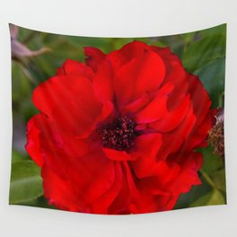 Vibrant Red Flower Wall Tapestry