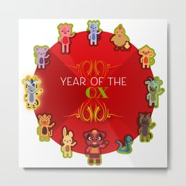 Chinese Zodiac - Year of the Ox Metal Print