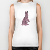 rabbit Biker Tanks featuring Rabbit by Suburban Bird Designs
