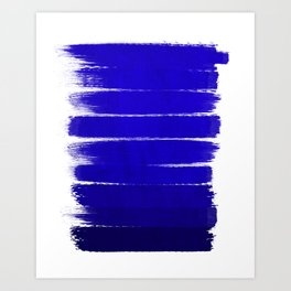 Shel - abstract painting painterly brushstrokes indigo blue bright happy paint abstract minimal mode Art Print