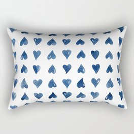 Hearts Watercolor Pattern Rectangular Pillow