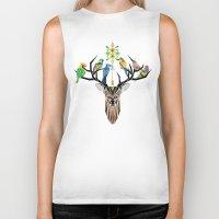 yetiland Biker Tanks featuring deer birds by Manoou