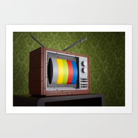 springsteen Art Prints featuring 57 Channels and Nothing On by powerpig