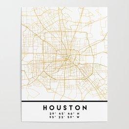 HOUSTON TEXAS CITY STREET MAP ART Poster