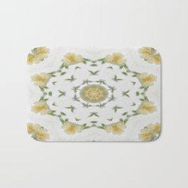 Creamy Yellow Rose Kaleidoscope Art 4 Bath Mat