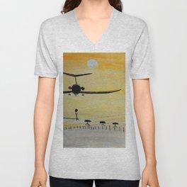 Yellow last flight Unisex V-Neck