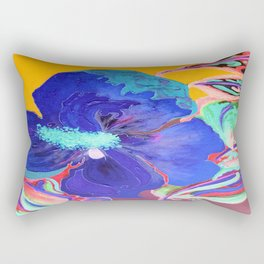 Birthday Acrylic Blue Orange Hibiscus Flower Painting with Red and Green Leaves Rectangular Pillow