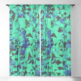 geometric triangle pattern abstract in green blue black Sheer Curtain