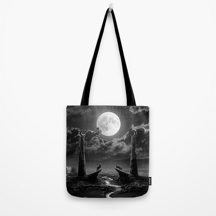 XVIII. The Moon Tarot Card Illustration Tote Bag