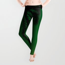Tropical Palm Tree Silhouette Green Ombre Sunset Crescent Moon At Night Leggings