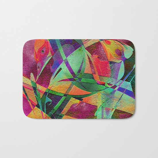 """ Rainbow bird  ""  Bath Mat"