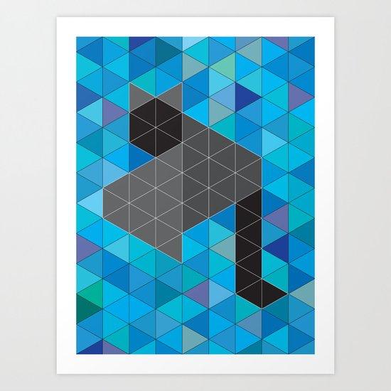Black kitten in a sea of Triangles Art Print