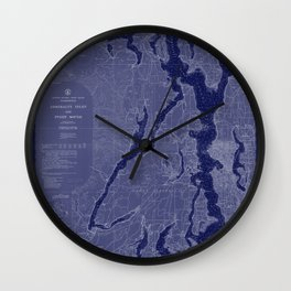 Puget Sound Washington State Nautical Chart Map Print 1956 Dark Blue, Map Art Prints Wall Clock