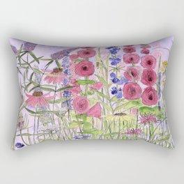 Watercolor Wildflower Garden Flowers Hollyhock Teasel Butterfly Bush Blue Sky Rectangular Pillow
