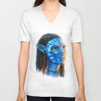 avatar V-neck T-shirts featuring Avatar by Aoife Rooney Art