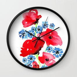 Poppy Floral Wall Clock