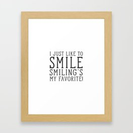 Smiling's My Favorite - Buddy The Elf, Christmas Movie Quote Framed Art Print