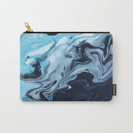 Gradient Blue Water Marble Carry-All Pouch