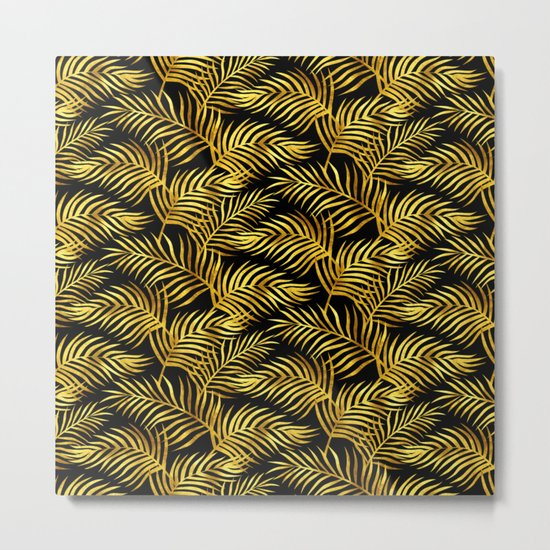 Palm Leaves_Gold and Black Metal Print