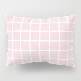 Simply Minimalistic Grid Line Pattern - Pink & White - Mix & Match with Simplicity of Life Pillow Sham
