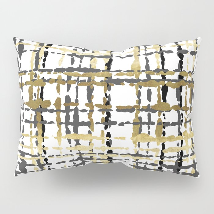 Black and Gold Loose Plaid Pillow Sham