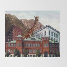New Giraffe in Town Throw Blanket