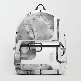 Watercolor and Marble Black and White Geometric Mix Media Backpack