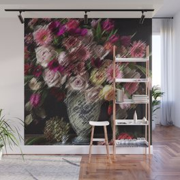 Still Life Roses, Carnations, Zinnia Flowers in Vase Painting by Jeanpaul Ferro Wall Mural
