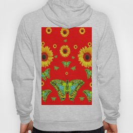 RED COLOR YELLOW SUNFLOWERS GREEN MOTHS Hoody