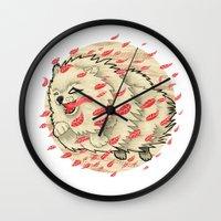 pomeranian Wall Clocks featuring Pomeranian in Autumn by Jack Haughey