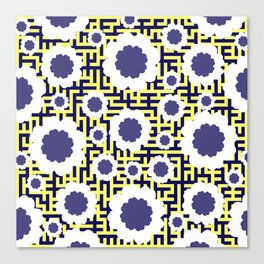 Floral maze in yellow and blue Canvas Print