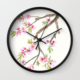 pink peach flowers Wall Clock